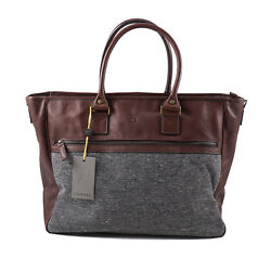 Canali Brown Leather And Gray Tweed Overnight Travel Carryall Bag Nwt