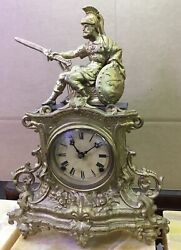 Gilded Mantle Clock Depicting A Soldier