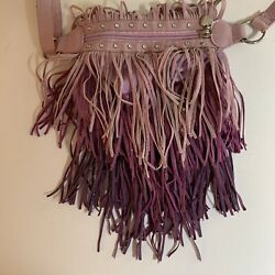 Justice Crossbody Girls Handbag Purple Fringe Glitter Beads Bag $19.95