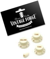 Parchment Volume And Tone Knob Set W/switch Tip For Fender Strat Guitars New