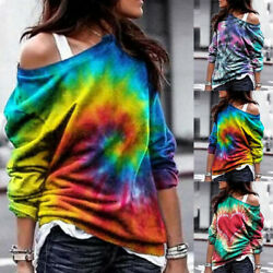 Women Long Sleeve Cold Shoulder Tie Dye T Shirt Casual Loose Blouse Tunic Tops $15.19