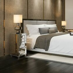 Mirrored 3 Drawer Nightstand Accent Chest Cabinet Bedside Table End Side Table