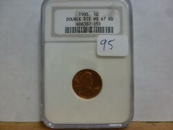 1995 Double Die Lincoln Wheat Cent Ngc Ms-67 Rd- Old Holder 051
