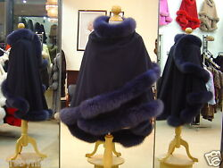 Navy Cashmere Cape With Fox Fur Trim Beautifully Canadian Label