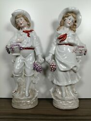 Antique German Figurines Couple Selling Grapes