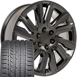 Oew 22x9 Wheels And Tires Fit Chevy Gm High Country Black W/black Gy