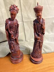 """Vintage Carved Resin Statues Figurines East Asian Oriental Couple 13"""""""