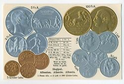 Albania Albanian Coins On German Ad Postcard Ca. 1930 Rare Almost Mint Condition