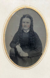 Antique Tintype Photo Tinty Light Eyed Beauty Long Hair Bottle Curls C1870s