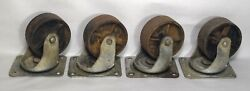 4 Vintage Bassick 461 Industrial 4 Swivel Casters Cast Iron Wheels Cart Dolly