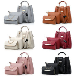 3Pcs Set Women Faux Leather Handbag Shoulder Bag Crossbody Tote Messenger Purse $20.99
