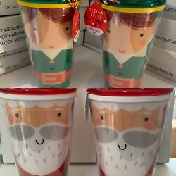 1 X Santa And Elf Christmas Travel Cup Beaker With Straw 100 Food Grade Plastic