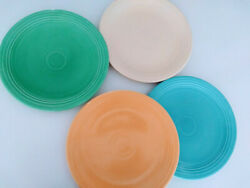 Vintage Fiestaware 4 Large 12 Dinner Plates Ivory Turquoise Green And Yellow