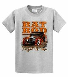 Rat Rod Tee Shirt Rat Rod With Flames Forged In Time Hotrod Racing Garage