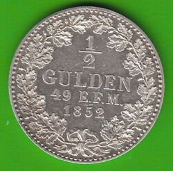 Hohenzollern Under Prussia 1/2 Gulden 1852 Better Than Xf Very Nice Nswleipzig