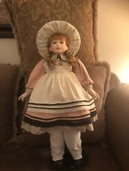 """Hand Crafted Porcelain Doll Collectors Choice 28"""" Rebecca With Stand"""
