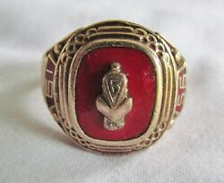 Solid 10k Gold 1956 High School Fraternal College Sz 10.5 Ring 11.6g Not Scrap