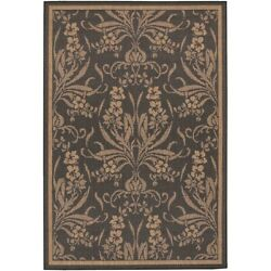 Couristan Recife Garden Cottage Black And Cocoa Indoor/outdoor Rug 5and0393x7and0396