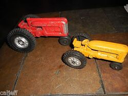 2 Lot Vintage Diecast Hubley 7 And 5.5 Toy Kiddie Tractor Farm Equipment