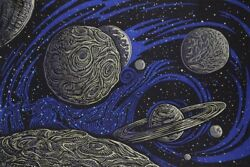 New Galactic Space Tapestry Wall Hanging Decor Gift 90x60 Planets Saturn Cosmos