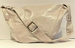 Hobo Gray Leather Handbag by Grudit from Italy Zip CloseWide Strap amp; Buckle $19.67