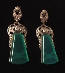 Vintage 925 Sterling Silver Large Green Agate And Marcasite Earrings