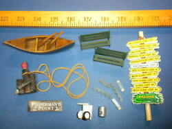 O Or N Scale Figures Camping Boat Fish Wharf Benches Maine Lighthouse Sign Lot