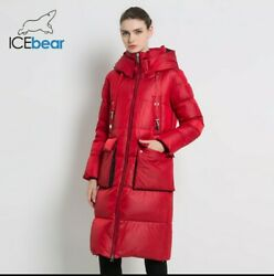 Icebear Womens Red Winter Jacket High Quality Hooded Coat Size Small