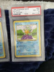 Psa 8 Mint Squirtle 63/102 1st Edition Shadowless Base Set Pokemon Rare Card