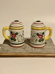 Vintage Py Ucagco Rooster And Floral Salt And Pepper Shakers