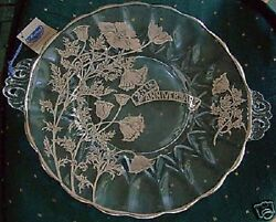 25th Anniversary Crystal Plate Flanders Janice Sterling Silver Overlay - Vintage