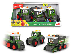 Dickie Toys Happy Fendt Trio 2 Tractors And Combine Rolling Eyes Lights And Sounds