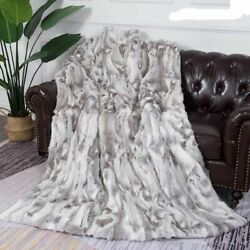 Winter Warm Natural Real Rabbit Fur Blanket Patchwork Throw Customized Soft Hand