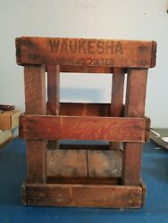 Vtg 1920s Grafs Soda And Waukesha Springs Water Bottle Wood Crate Carrier Wis