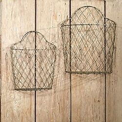 Arched Wire Wall Baskets set 2