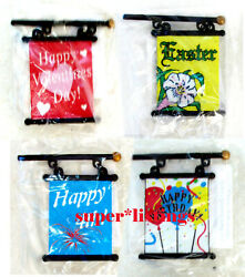 Dept. 56 Banners For Lamppost 1 Each Valentine, Easter, 4th Of July, Birthday