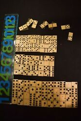 Antique Ebony And Bone Dominoes Lot Pieces With Brass Pins 3 Sizes