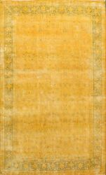 Semi-antique Overdyed Gold Kirman Distressed Area Rug Evenly Low Pile Wool 8x11