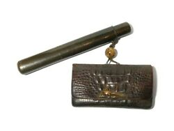 Antique Japanese Leather Tobacco Pouch + Kiseru Smoking Pipe In Bakelite Case