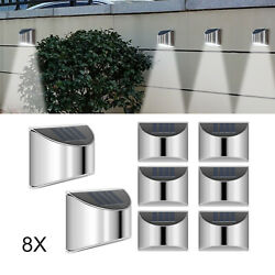 8 X Led Solar Power Garden Fence Lights Wall Light Patio Outdoor Security Lamps