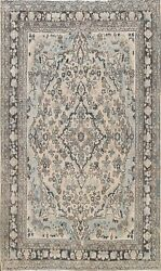 Antique Muted Hamedan Evenly Low Pile Area Rug Distressed Handmade Oriental 7x10