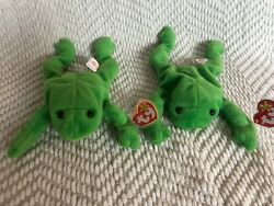 Bundle - Legs The Frog Ty Beanie Baby Rare With Tag Errors 1993 Pvc Pellets