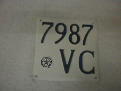 Italy Vercelli Vintage 1940s Motorcycle/ Moped Ri Emblem 7987 Vc License Plate