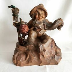 10 Austrian Hand Carved Tree Root Dwarf Bearded Gnome Folk Art Holder And Pipe