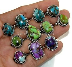 50 Pcs Natural Blue Green Purple Mix Turquoise 925 Silver Plated Rings Rb-30