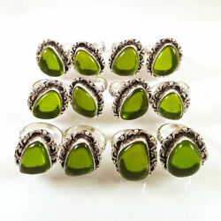 New 100 Pcs Lot Green Peridot Gemstone 925 Sterling Silver Plated Rings Br-42