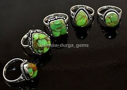 10 Pcs Natural Green Turquoise Gemstone 925 Sterling Solid Silver Rings Rs-26