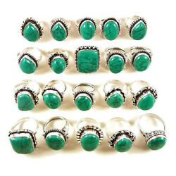 New 10 Pcs Lot Green Turquoise Gemstone 925 Sterling Solid Silver Rings Br-48