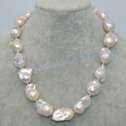 Natural 15-23mm White South Sea Baroque Keshi Pearl Necklace 18'' Magnetic Clasp