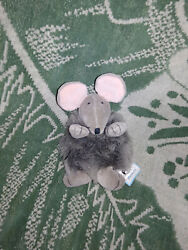 Jelly Cat Hard to Find PUFFBALL Gray Plush Mouse with Swing Tag
